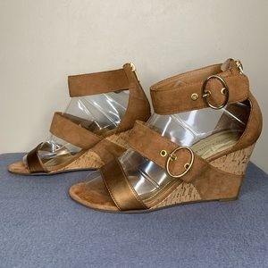 Marc Fisher Wedge Heel Strap Sandal Size 7.5M